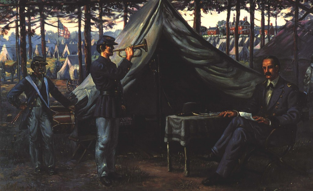 Sidney King painting of the writing of Taps. Original painting is at Berkeley
