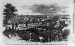 U.S Mail boat dock, Harrison's Landing, James River, Va Note Contraband tents on dock